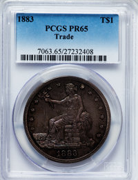 1883 T$1 PR65 PCGS. PCGS Population (50/19). NGC Census: (55/40). Mintage: 979. Numismedia Wsl. Price for problem free N...