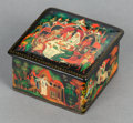 Ceramics & Porcelain, Russian, A RUSSIAN BLACK LACQUERED BOX. 20th century. Marks: MADE INUSSR. 1-1/2 x 2-1/2 x 2-1/2 inches (3.8 x 6.4 x 6.4 cm). ...