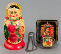 Ceramics & Porcelain, Russian, AN EIGHT PIECE RUSSIAN NESTING DOLL, LACQUERED BOX AND PENDANT WITHCHAIN. 20th century. Marks: MADE IN USSR. 6-1/4 inch...(Total: 3 Items)