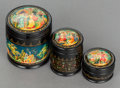 Decorative Arts, Continental:Other , A SET OF THREE RUSSIAN GRADUATED LACQUERED BOXES. 20th century. 3inches high x 2-5/8 inches diameter (7.6 x 6.7 cm). ... (Total: 3Items)