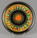 , A RUSSIAN PAINTED LACQUER PLATE WITH FIGURES DANCING. 20th century.7 inches diameter (17.8 cm). Property from a Private C...