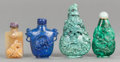 Asian:Chinese, FOUR CHINESE CARVED LAPIS, MALACHITE AND HARDSTONE SNUFF BOTTLES.20th century. 3-1/4 inches high (8.3 cm) (tallest). ... (Total: 4Items)