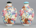 Asian:Chinese, A PAIR CHINESE PORCELAIN FIGURAL SNUFF BOTTLES. Early 20th century.Marks: (chop marks). 3-1/8 inches high (7.9 cm). ... (Total: 2Items)