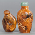 Asian:Chinese, TWO CHINESE HARDSTONE SNUFF BOTTLES. 20th century. 3-5/8 incheshigh (9.2 cm) (taller). ... (Total: 2 Items)