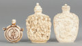 Asian:Chinese, THREE CHINESE CARVED RESIN SNUFF BOTTLES. 20th century. 3-1/2inches high (8.9 cm) (taller). ... (Total: 3 Items)