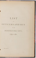 Books:Americana & American History, List of Officers and Men in the Pennsylvania Navy,1775-1781. N.P. Octavo. 359 pages. Half leather binding overmarbled ...
