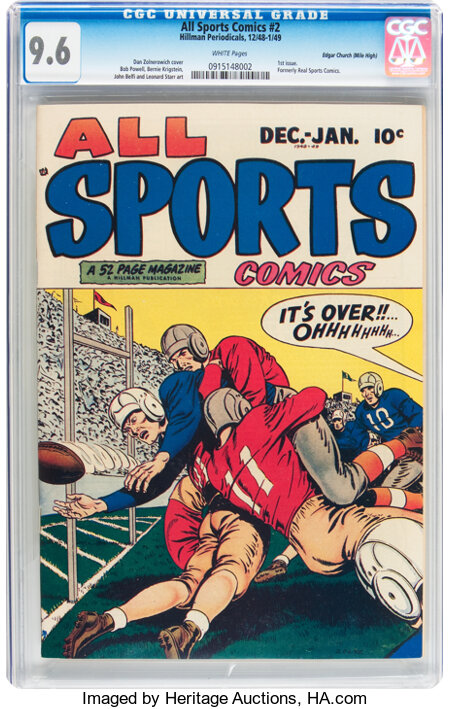 All Sports Comics #2 Mile High pedigree (Hillman Publications, 1948) CGC NM+ 9.6 White pages....