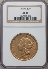 1867-S $20 XF45 NGC. NGC Census: (246/719). PCGS Population (115/213). Mintage: 920,750. Numismedia Wsl. Price for probl...
