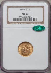1893 $2 1/2 MS63 NGC. CAC. NGC Census: (176/208). PCGS Population (196/177). Mintage: 30,000. Numismedia Wsl. Price for...