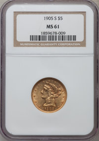 1905-S $5 MS61 NGC. NGC Census: (160/90). PCGS Population (47/127). Mintage: 880,700. Numismedia Wsl. Price for problem...