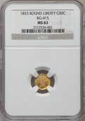 California Fractional Gold: , 1853 50C Liberty Round 50 Cents, BG-415, Low R.5, MS63 NGC. NGCCensus: (2/1). PCGS Population (10/9). ...