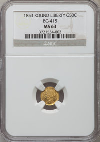 1853 50C Liberty Round 50 Cents, BG-415, Low R.5, MS63 NGC. NGC Census: (1/0). PCGS Population (10/9). ...(PCGS# 10451)
