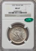 Commemorative Silver: , 1937 50C Texas MS67 NGC. CAC. NGC Census: (68/7). PCGS Population(102/3). Mintage: 6,571. Numismedia Wsl. Price for proble...