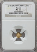 California Fractional Gold, (1853) 25C Liberty Round 25 Cents, BG-222, R.2, MS65 NGC. NGCCensus: (13/4). PCGS Population (16/2)....