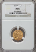 Indian Quarter Eagles: , 1909 $2 1/2 MS63 NGC. NGC Census: (1008/1012). PCGS Population(835/793). Mintage: 441,700. Numismedia Wsl. Price for probl...
