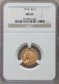 Indian Quarter Eagles: , 1910 $2 1/2 MS63 NGC. NGC Census: (1372/994). PCGS Population(689/496). Mintage: 492,000. Numismedia Wsl. Price for proble...