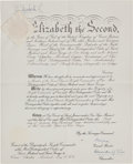 Autographs:Non-American, Queen Elizabeth II Appointment Signed...
