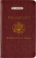 Autographs:Others, 1931 Lou Gehrig United States Passport--Signed Three Times!...