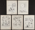 Baseball Collectibles:Others, Leo O' Amelia Original Sports Cartoons Lot Of 11....
