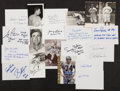 Autographs:Others, Miscellaneous Sports Signed Postcard And Index Cards Lot Of 20....