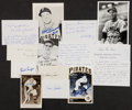 Autographs:Index Cards, Baseball Greats Signed Postcards And Index Cards Lot Of 14 Many With Lengthy Inscriptions....