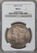 Morgan Dollars: , 1883-CC $1 MS67 NGC. NGC Census: (108/0). PCGS Population (165/5).Mintage: 1,204,000. Numismedia Wsl. Price for problem fr...
