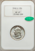 Washington Quarters: , 1948-S 25C MS67 NGC. CAC. NGC Census: (276/1). PCGS Population(59/1). Mintage: 15,960,000. Numismedia Wsl. Price for probl...