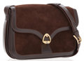 Luxury Accessories:Accessories, Celine Brown Suede Shoulder Bag with Leather Trim . ...