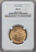 Indian Eagles: , 1914-D $10 MS62 NGC. NGC Census: (767/397). PCGS Population(763/611). Mintage: 343,500. Numismedia Wsl. Price for problem ...