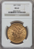 Liberty Double Eagles: , 1891-S $20 MS62 NGC. NGC Census: (1874/534). PCGS Population(1795/886). Mintage: 1,288,125. Numismedia Wsl. Price for prob...