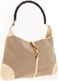 Luxury Accessories:Accessories, Gucci Beige Canvas Jackie O Shoulder Bag with Piston Closure. ...