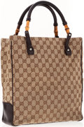 Luxury Accessories:Accessories, Gucci Beige Monogram Canvas Tote Bag with Bamboo & LeatherHandles. ...