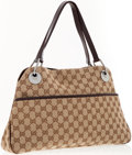 Luxury Accessories:Accessories, Gucci Classic Monogram Canvas Shoulder Bag with Brown LeatherAccents. ...