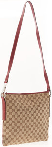 Luxury Accessories:Bags, Gucci Classic Monogram Canvas & Red Leather Messenger Bag. ...