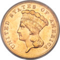 Three Dollar Gold Pieces, 1889 $3 MS65 PCGS....