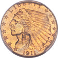 Indian Quarter Eagles, 1911 $2 1/2 MS65 PCGS....