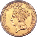 Three Dollar Gold Pieces, 1854 $3 MS64 PCGS....
