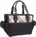 Luxury Accessories:Bags, Burberry Black Canvas & Nova Check Tote Bag with Black LeatherAccents. ...