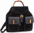 Luxury Accessories:Accessories, Gucci Black Suede & Leather Backpack with Bamboo Handle . ...