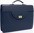 Luxury Accessories:Accessories, Bally Navy Blue Leather Briefcase. ...