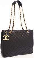 Luxury Accessories:Accessories, Chanel Black Quilted Lambskin Leather Tote Bag with Gold Hardware. ...