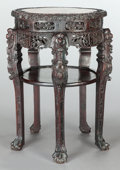 Asian:Other, AN ASIAN CARVED MARBLE TOP PLANT STAND . Maker unknown, 20thcentury. 31-3/4 inches high x 21-1/4 inches wide (80.6 x 54.0 c...
