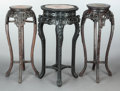 Asian:Other, THREE ASIAN CARVED WOOD PLANT STANDS WITH MARBLE TOPS . Makerunknown, 20th century. 35 inches high x 14-1/2 inches wide (88...(Total: 3 Items)