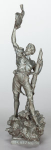 Decorative Arts, Continental:Other , A PATINATED BRONZE FIGURE, AFTER WAAGEN SPELTER: DETRESSE .20th century. Marks: Waagen. 33 inches high (83....