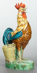 Ceramics & Porcelain, A BOCH FRERES MAJOLICA ROOSTER. 20th century. Marks: Boch Freres, La Louvier. 32 inches high (81.3 cm). ...