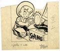 Original Comic Art:Covers, Warren Kremer - Little Max Comics Cover Original Art (Harvey,undated). Plucky Little Max mechanizes the art of shoe shining...