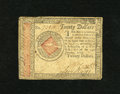 Colonial Notes:Continental Congress Issues, Continental Currency January 14, 1779 $20 Very Fine. This whollyoriginal note boasts bold details and only moderate circula...