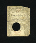 Colonial Notes:Connecticut, Connecticut July 1, 1780 10s Very Fine COC. Some portions of themargin have gone with circulation and the center has been p...