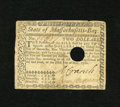Colonial Notes:Massachusetts, Massachusetts May 5, 1780 $2 Very Fine-Extremely Fine. This examplecomes with a card that tells about the signers of the pe...