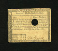 Colonial Notes:Massachusetts, Massachusetts May 5, 1780 $4 Very Fine+. A moderately circulatedMassachusetts hole cancelled note with decent margins and d...
